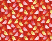 "END OF BOLT - 1 Yard Cut of Kokeshi Birds on Red from Robert Kaufman - 36""x44"""