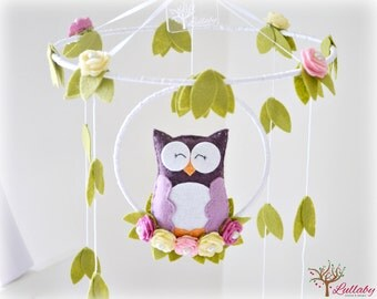 Owl mobile - Woodland - baby mobile - nursery decor - purple, ivory, white, green - felt roses - MADE TO ORDER
