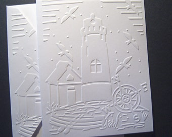 Set of 6 Embossed Lighthouse Scene Notecards