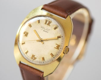 Classic men's watch Poljot\Flight, gold plated AU men's watch, retro style Soviet gents accessory, premium leather strap new