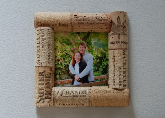 Wine Cork Picture Frame Magnet by GulfCoasters on Etsy