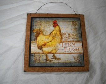 Chantieleer rooster Wooden Kitchen Wall Art Sign Country Decor farm fresh