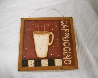 Cappuccino Coffee wooden kitchen Wall Art sign java cafe decor