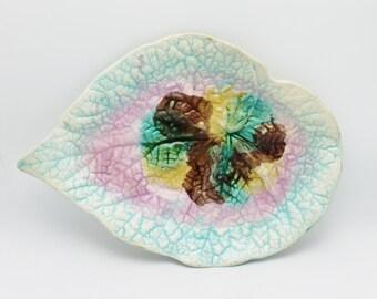 Majolica Antique Large Platter Begonia Leaf circa 1880