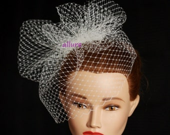 BIRDCAGE VEIL. Headpiece, wedding  veil .Bridal bow veiling.Fashion birdcage veil. Wedding fascinator. Unique and so glamorous