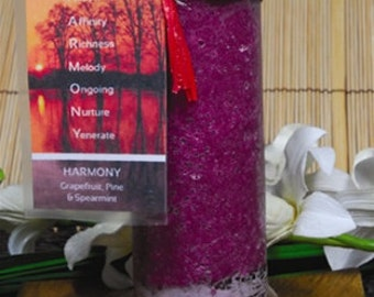 Harmony Scented Affirmation Pillar Candle Pagan Wiccan