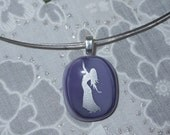 Dance Pendant Necklace Fused Glass Pendant Purple Dance Pendant