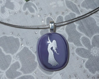 Dance Pendant Necklace Fused Glass Pendant Purple Dance Pendant