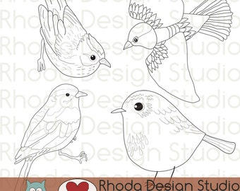 Song Bird Illustrations Digital Clip Art Retro Stamps