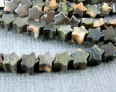 Jasper Beads - Dark Green Jasper Star Beads-- Tiny Jasper Star Beads-- 1 STRAND (BB-19)