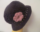 Purple Woman Cloche hat With Flower
