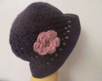 Purple Woman Cloche hat With Flower