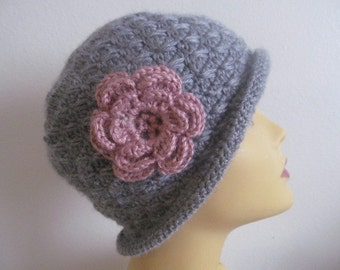 Gray Winter Women Hat With Rose Flower