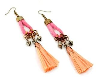 Long Earrings, Tassel Earrings, Fringe Earrings for Women, Colorful Earrings, Drop Earrings, Peach Earrings, Gift for Sister, Rope Earrings