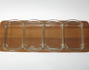 Digsmed Denmark Teak Serving Tray w/ Glass Condiment Insert Dishes - Mid Century Danish Modern
