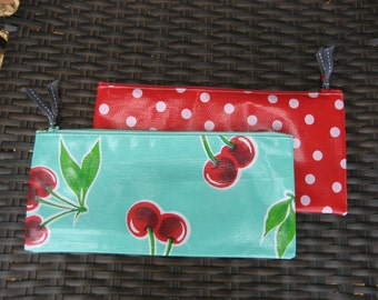 Set of 2 Zippered Oil Cloth Pouches--Retro Cherries and Red Polka Dot Cosmetic Bags--Purse Organizer--pencil pouch teacher gift
