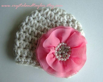 Baby Girl Hat, Baby Hat, Newborn Hat, Crochet Hat, Flower Hat in Oatmeal and Pink, Hat with Flower