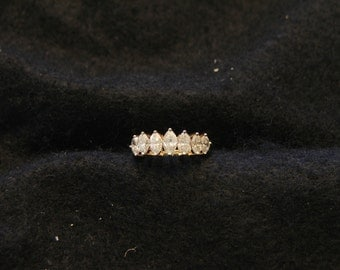 Vintage 14KT Gold 7 Stone Pyramid Diamond Ring : Reduced Price!
