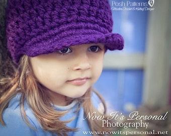Crochet PATTERN - Crochet Hat Pattern - Newsboy Hat Pattern - Includes Baby, Toddler, Child, Kids, Adult Sizes - PDF 136