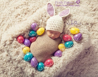 Crochet PATTERN - Crochet Bunny Pattern - Crochet Hat Pattern - Crochet Bunny Hat - Includes Newborn, Baby, Toddler Sizes - PDF 163