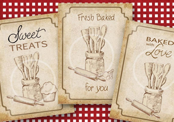 Kitchen bakery tags baked goods tags digital download vintage kitchen bakery tags baked goods tags digital download vintage printable gift tags diy tags baked with love tags gift tags sweet from sssstudio on negle Gallery