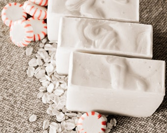 Peppermint Oatmeal Handcrafted Soap, Cold Process, Natural, Vegan