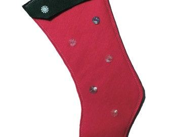 Red Felt Christmas Stocking A Kelly Green Cuff and Sequins