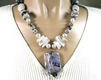 purple necklace, Dogtooth Amethyst pendant, Fresh Water Pearls, Amethyst , Owyhee Jasper, beaded necklace, Crab Fire Agate, gemstones 040