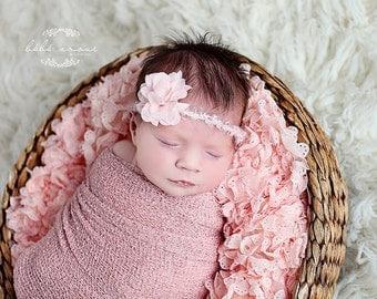 Newborn headband - 'SWEETLY' baby headband - infant halo - stretchy baby headband- knitbysarah - Stitches by Sarah