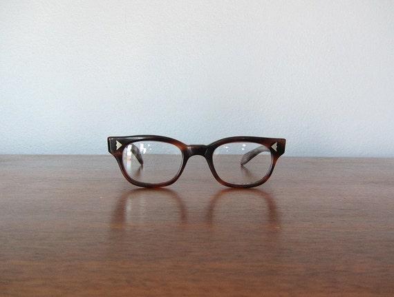 Vintage Tortoise Shell Eyeglass Frames : Brown vintage eyeglasses . 1960s tortoise shell glasses frames