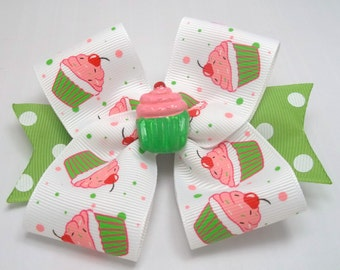 Cupcake Boutique Hair Bow - Baby, Toddler, Girls Hair Bows Sweet and Simple Hair Bow Green And Pink Cupcake Hair Bow Baby Headband Hair Bow