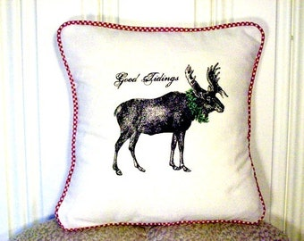"""shabby chic, feed sack, french country, vintage Christmas moose graphic with gingham welting 14"""" x 14"""" pillow sham."""