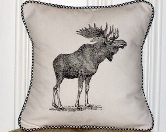 """shabby chic, feed sack, french country, vintage moose graphic with gingham  welting 14"""" x 14"""" pillow sham."""