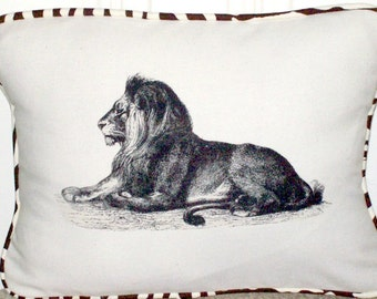 "shabby chic, feed sack, french country, vintage lion with zebra print  welting 12"" x 16"" pillow sham."