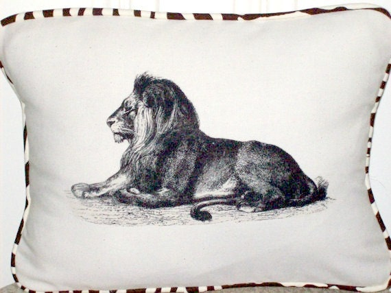 """shabby chic, feed sack, french country, vintage lion with zebra print  welting 12"""" x 16"""" pillow sham."""