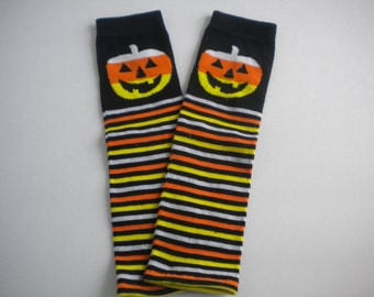 Baby Legwarmers Halloween Jack-O-Lantern Stripe READY TO SHIP