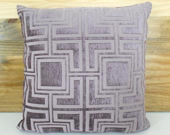 SALE Lilac purple geometric velvet decorative pillow cover.