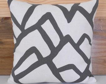 Modern abstract decorative pillow cover,  charcoal gray schumacher zimba