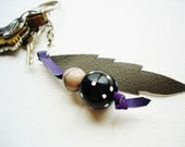 Hippie Chic Grey Feather Key Chain-Leather-Wooden Beads-Gift Idea-Handmade