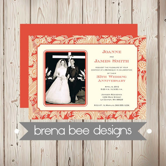 Coral Wedding Anniversary 35th Wedding Anniversary Card: 35th Wedding Anniversary Invitation Coral By Brenabeedesigns