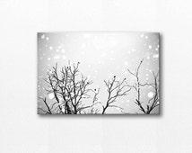 winter birds canvas print black and white prints birds photography canvas print nature nursery decor black and white canvas art large gray