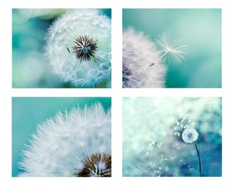 teal home decor dandelion print set of 4 prints bedroom decor dandelion photography nature dandelion decor dandelion wall art teal aqua blue