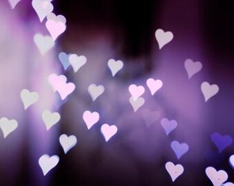 hearts photography abstract 8x10 8x12 bokeh photography fine art romantic photography valentines purple lilac wall art nursery bedroom decor