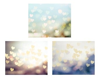 hearts photography print set abstract photography 5x7 8x10 fine art photography bokeh romantic photography pastel bedroom decor nursery dorm