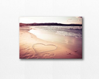 beach photography canvas wrap hearts photography 12x18 24x36 fine art photography large canvas art beach nautical decor canvas print ocean