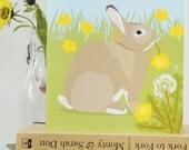 Rabbit or Easter Bunny card, Spring, birthday, blank inside