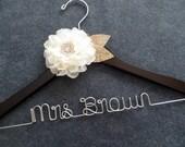 BURLAP AND LACE Wedding Dress Hanger - Rustic Bridal Hanger - Ivory Flower - Mrs Hanger - Personalized Bride Hanger - Last Name Hanger