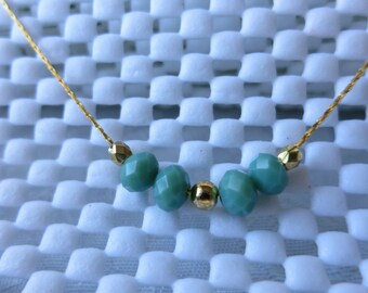 Necklace,Czech Glass Aqua Beads,Gold Plated,Slide Necklace