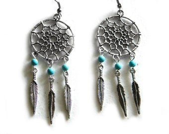 Dreamcatcher Earrings - Turquoise