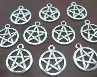 PENTACLE charms, 12 Tibetan Silver (lead free) for all of your needs. Wicca, Pagan, Elemental power.